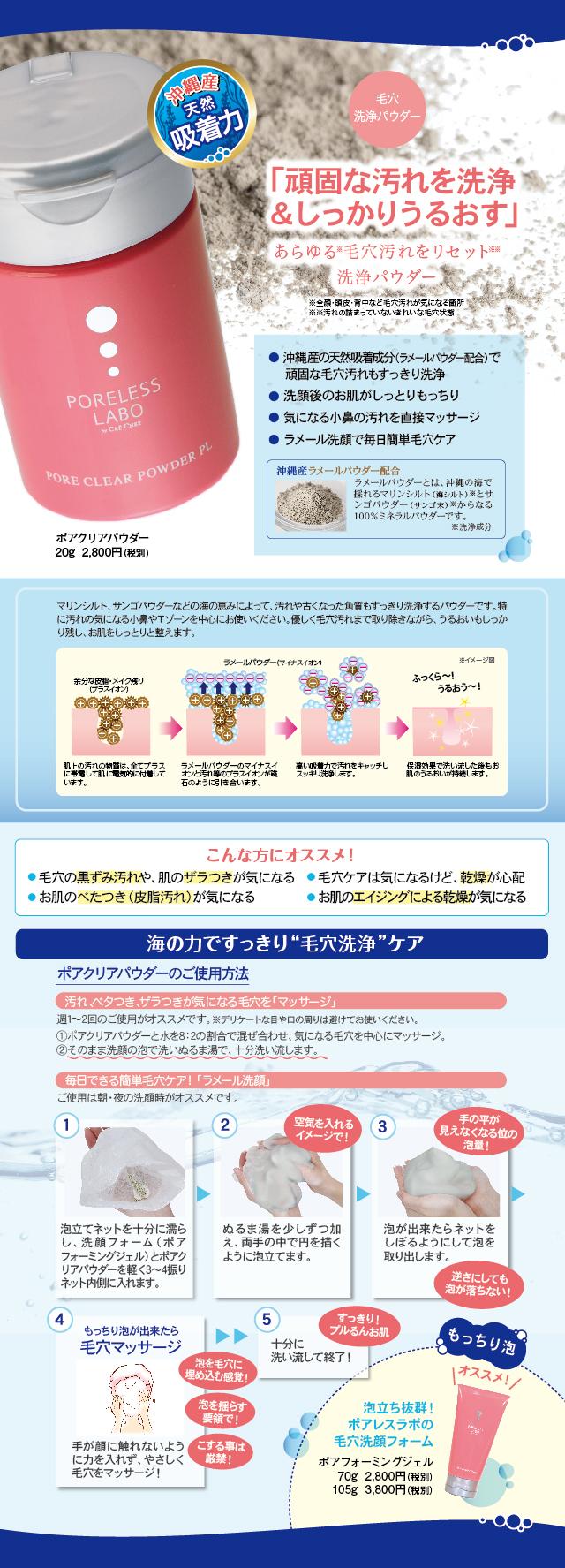毛穴洗浄&うるおす ポアクリアパウダーの詳細情報です
